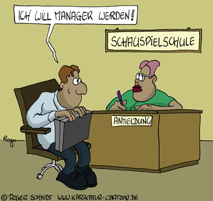 Karikatur, Cartoon: Schauspielschule für Manager, © Roger Schmidt