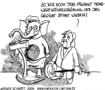 Karikatur, Cartoon: Mehrwertsteuer, © Roger Schmidt