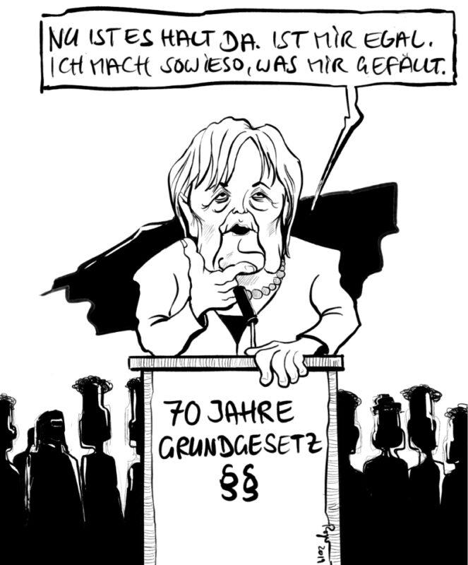 Karikatur, Cartoon: Merkel's Rede zu 70 Jahre Grundgesetz, © Roger Schmidt