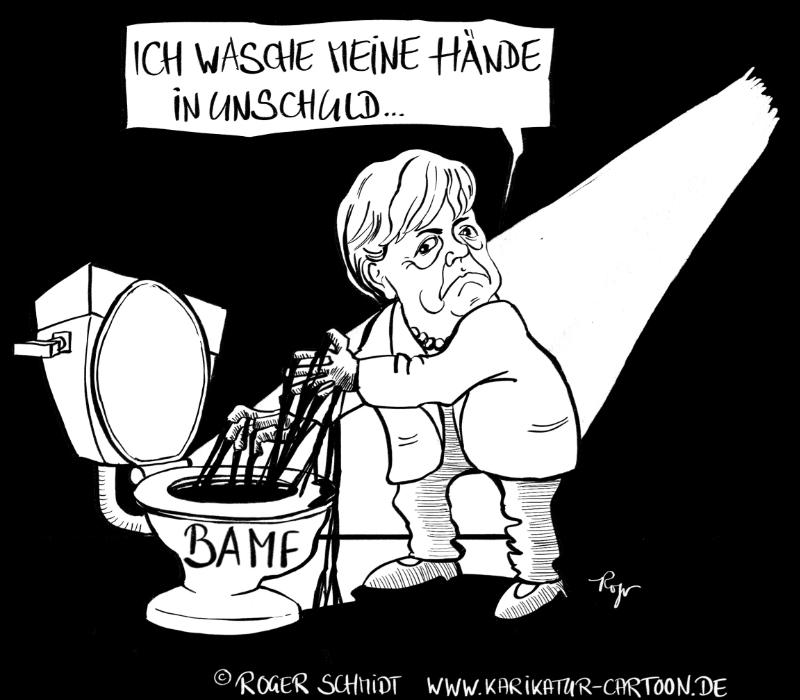 Karikatur, Cartoon: Merkel's BAMF-Skandal, © Roger Schmidt