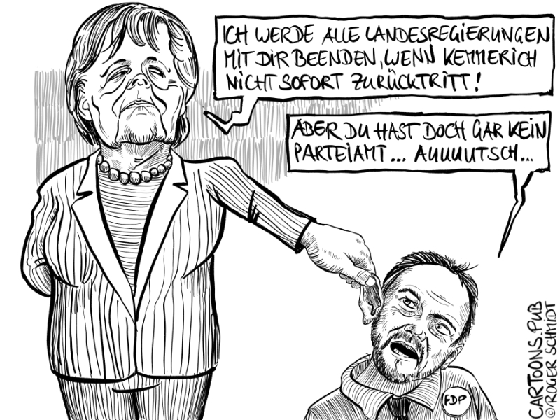 Karikatur, Cartoon: Merkel befiehl, FDP wir folgen © Roger Schmidt