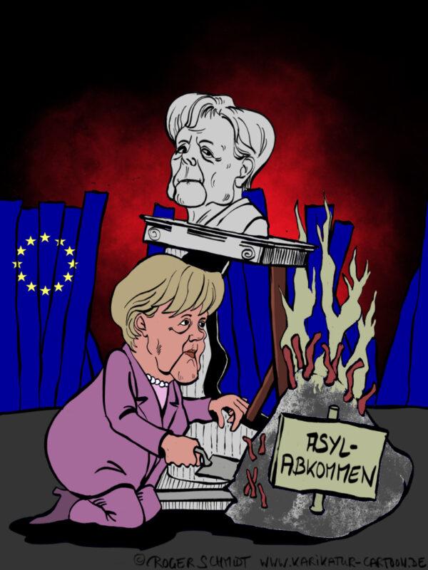 Karikatur, Cartoon: Merkel päsentiert ihr EU-Asylabkommen als Erfolg, © Roger Schmidt