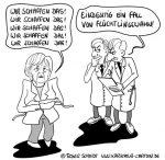Karikatur, Cartoon: Merkel und Ihre Flüchtlinge, © Roger Schmidt