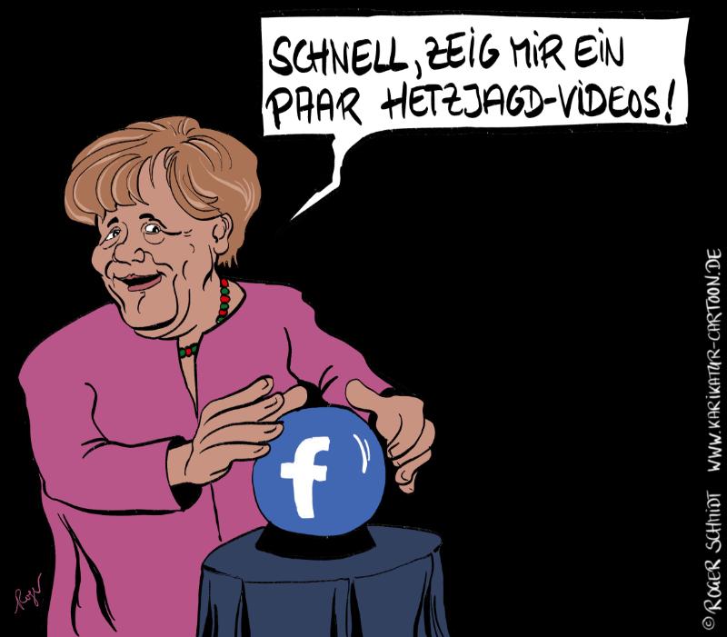 Karikatur, Cartoon: Merkels Hetzjagd-Videos, © Roger Schmidt