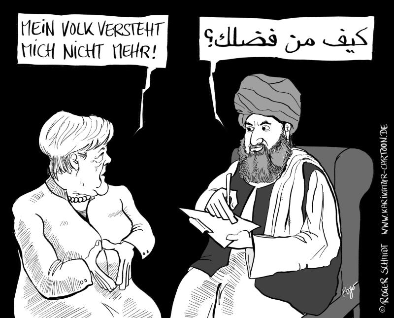 Karikatur, Cartoon: Angela Merkel ist Honeckers Vermächtnis, © Roger Schmidt