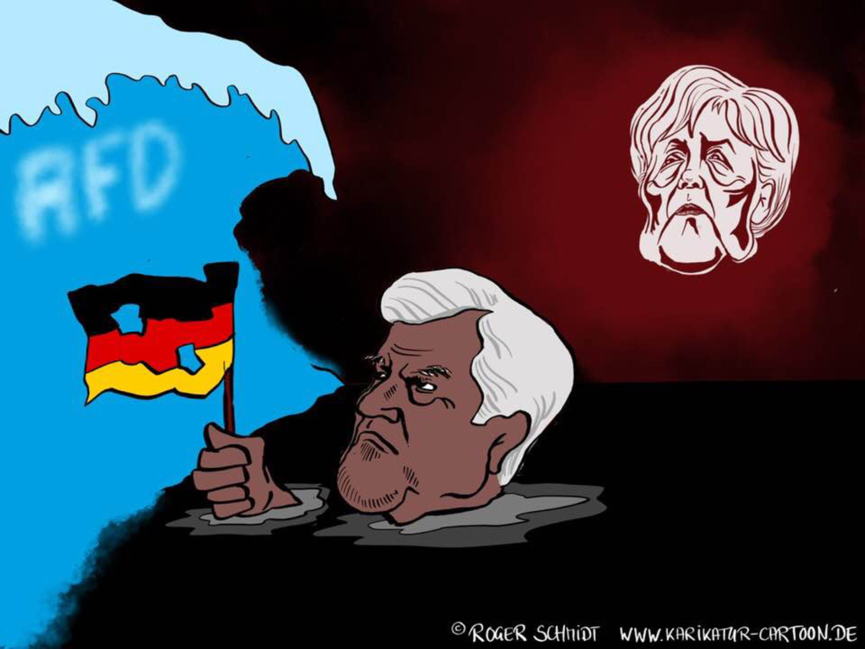 Karikatur, Cartoon: Seehofer paddelt weiter, © Roger Schmidt