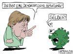 Karikatur, Cartoon: Merkels demokratische Zumutung © Roger Schmidt