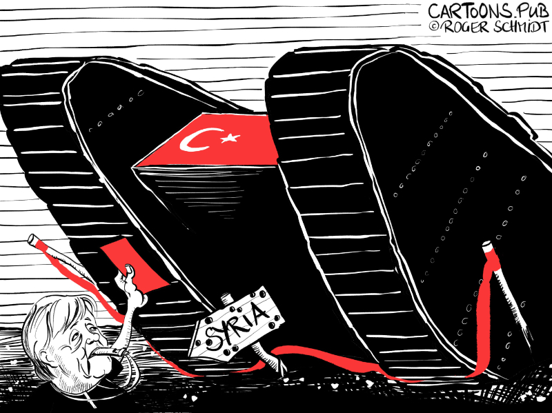 Karikatur, Cartoon: Merkels Erpressbarkeit © Roger Schmidt
