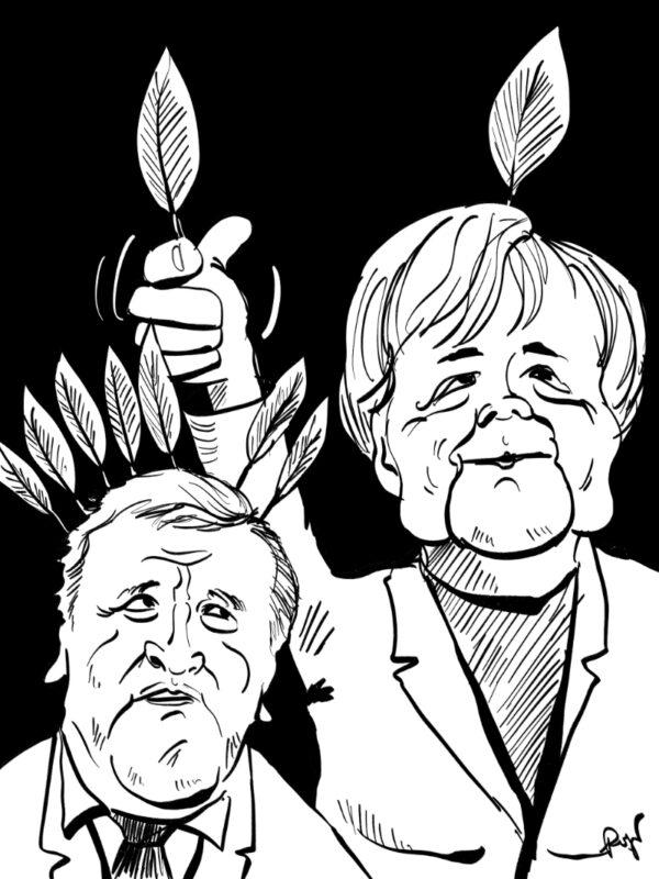 Karikatur, Cartoon: Merkels fremde Federn, © Roger Schmidt