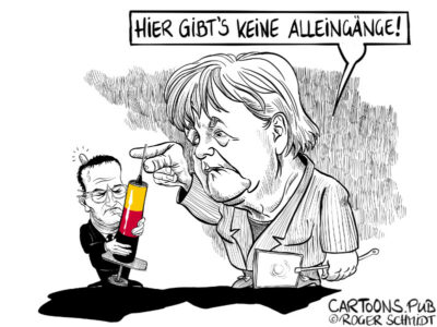 Karikatur, Cartoon: Merkels Impfstoffkrise © Roger Schmidt