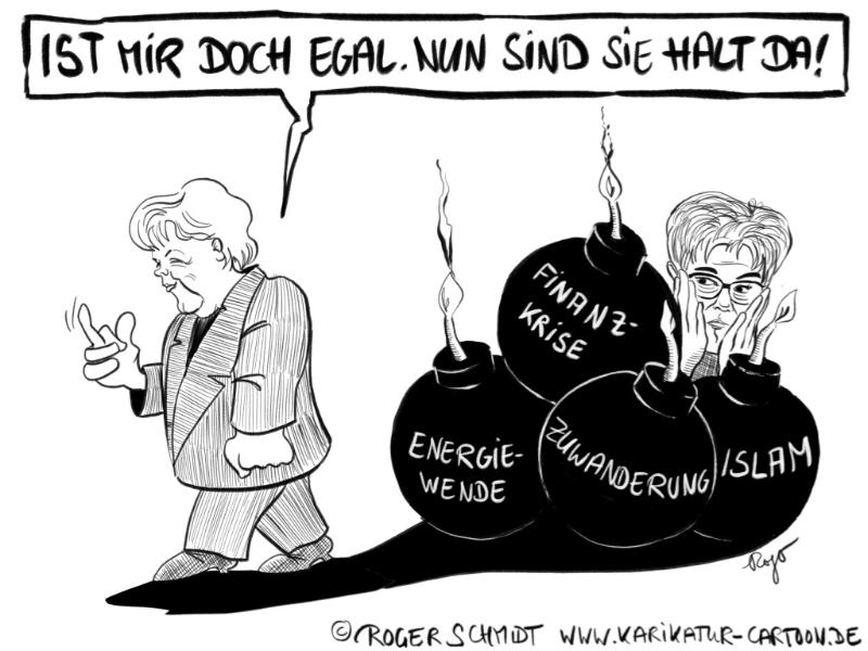 Karikatur, Cartoon: Merkels Nachlass, © Roger Schmidt