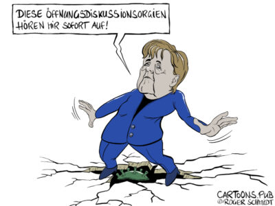 Karikatur, Cartoon: Merkels Öffnungsdiskussionsorgien © Roger Schmidt