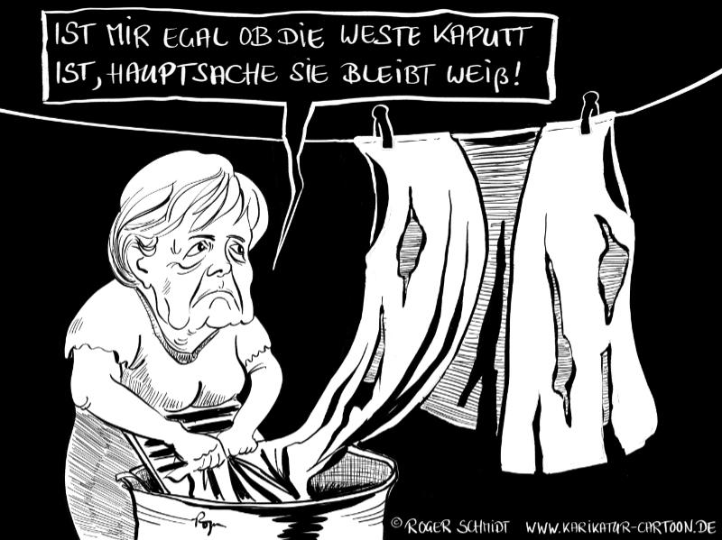 Karikatur, Cartoon: Merkels weiße Weste, © Roger Schmidt