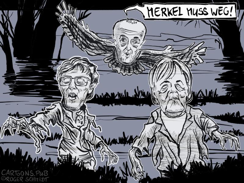 Karikatur, Cartoon: Merz poltert gegen Merkel und AKK © Roger Schmidt