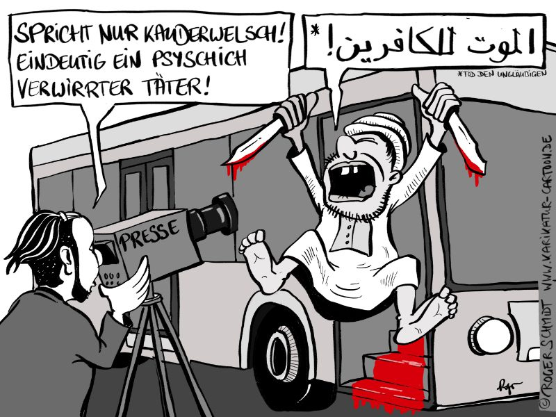Karikatur, Cartoon: Messerattentat in Lübeck, © Roger Schmidt