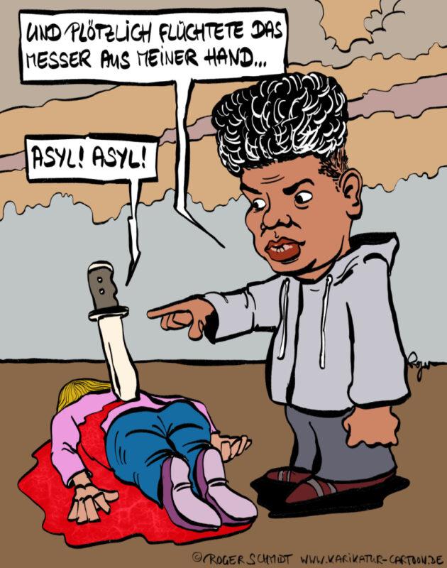 Karikatur, Cartoon: Messerstecher Abdullah, © Roger Schmidt