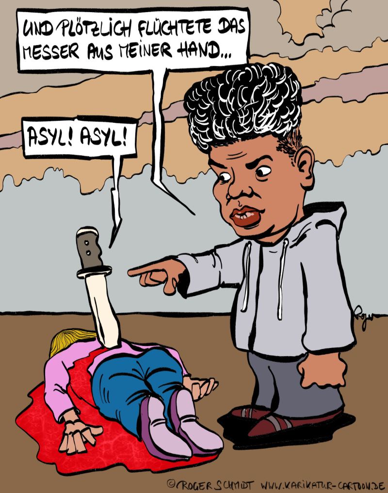 Karikatur, Cartoon: Messerstecher Abdullah, © Roger Schmidt