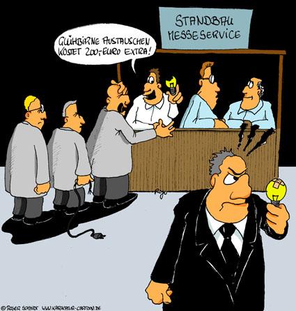 Karikatur, Cartoon: Messeservice für den geilen Messeauftritt, © Roger Schmidt