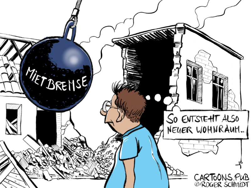 Karikatur, Cartoon: Mietbremse als schleichende Enteignung © Roger Schmidt