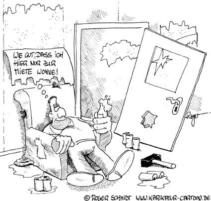 Karikatur, Cartoon: Mietvandalen, © Roger Schmidt