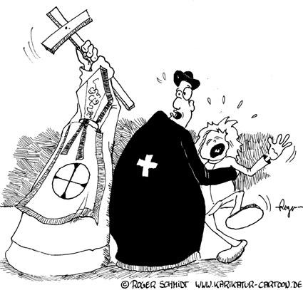 Karikatur, Cartoon: Missbrauch durch katholische Würdenträger, © Roger Schmidt