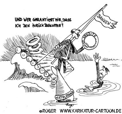 Karikatur, Cartoon: Mittelstand und Basel 2, © Roger Schmidt