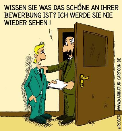Karikatur, Cartoon: Bewerbung und Chef, © Roger Schmidt