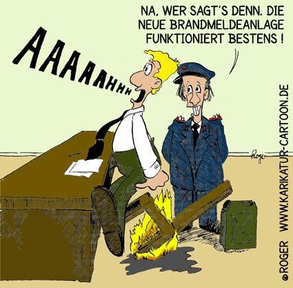 Karikatur, Cartoon: Feuer Brandmelder, © Roger Schmidt