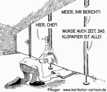Karikatur, Cartoon: Mobbing auf Toilette, © Roger Schmidt