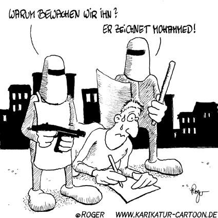 Karikatur, Cartoon: Mohammed Islam, © Roger Schmidt