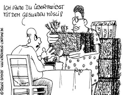Karikatur, Cartoon: Müsli Diät, © Roger Schmidt