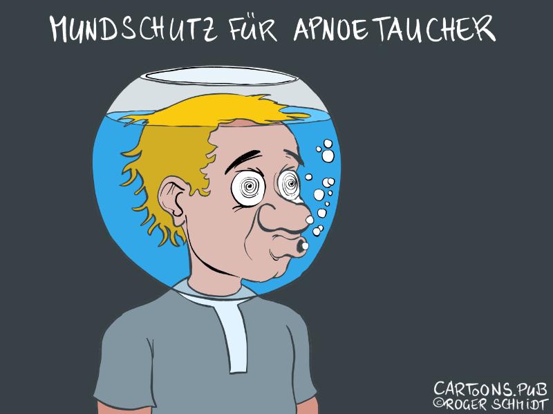Karikatur, Cartoon: Mundschutz für Apnoetaucher © Roger Schmidt