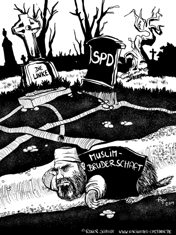 Karikatur, Cartoon: Genosse Muslimbruder, © Roger Schmidt