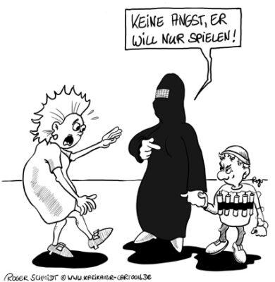 Karikatur, Cartoon: Viele muslimische Mütter erziehen zum Terror, © Roger Schmidt