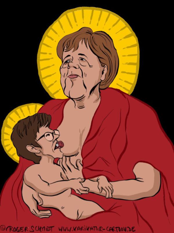 Karikatur, Cartoon: Die heilige Maria Merkel, © Roger Schmidt