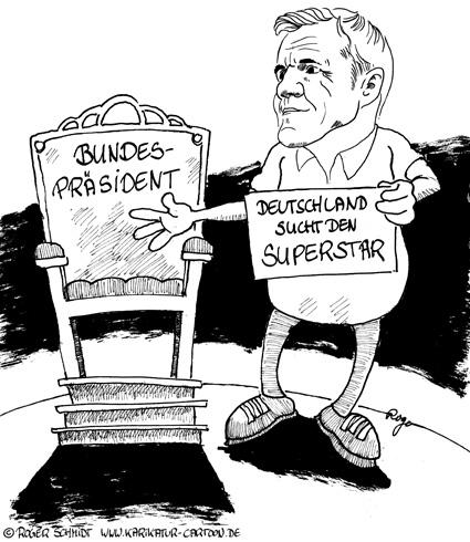 Karikatur, Cartoon: Nachfolge-Bundespräsident bestimmt durch Dieter Bohlen, © Roger Schmidt