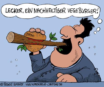 Karikatur, Cartoon: Vegetarischer Burger beeinflusst Nachhaltigkeit, © Roger Schmidt