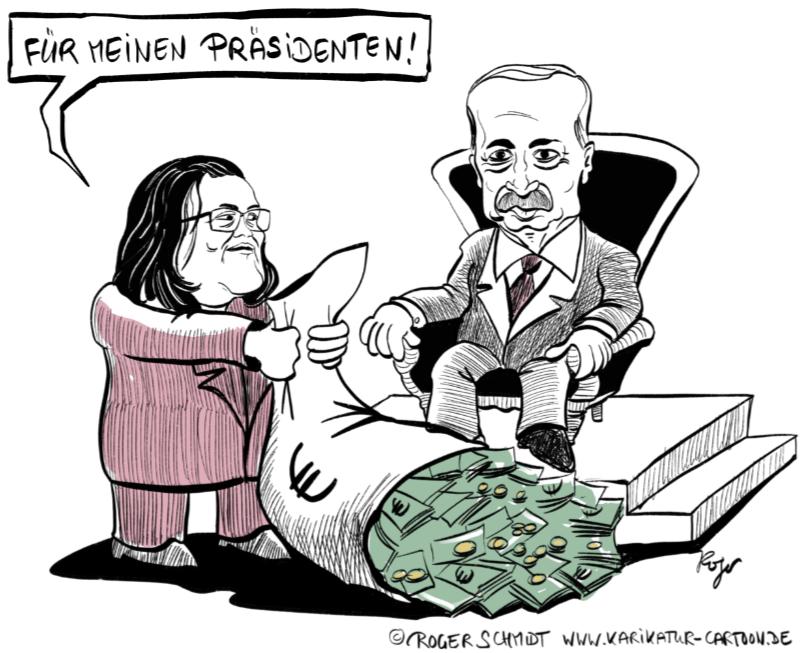 Karikatur, Cartoon: Nahles hilft Erdogan © Roger Schmidt