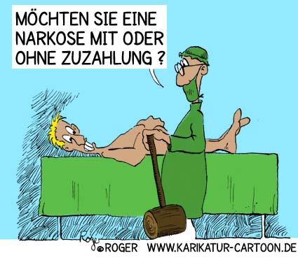 Karikatur, Cartoon: Narkose, © Roger Schmidt