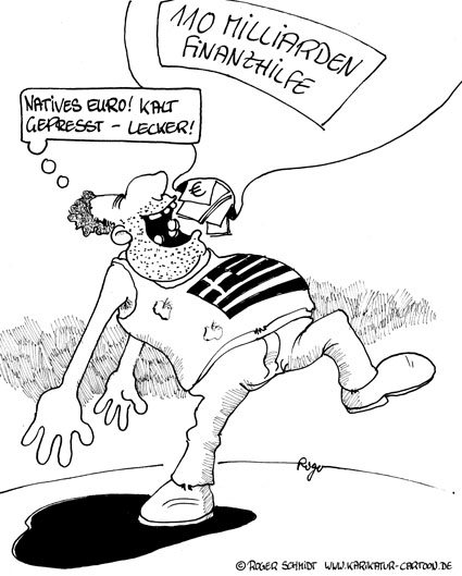 Karikatur, Cartoon: Natives Olivenöl - kaltgepresst, © Roger Schmidt