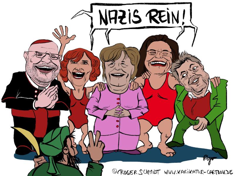 Karikatur, Cartoon: Nazis raus!, © Roger Schmidt