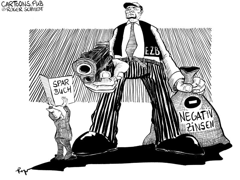 Karikatur, Cartoon: Negativzinsen fürs Sparbuch dank EZB © Roger Schmidt