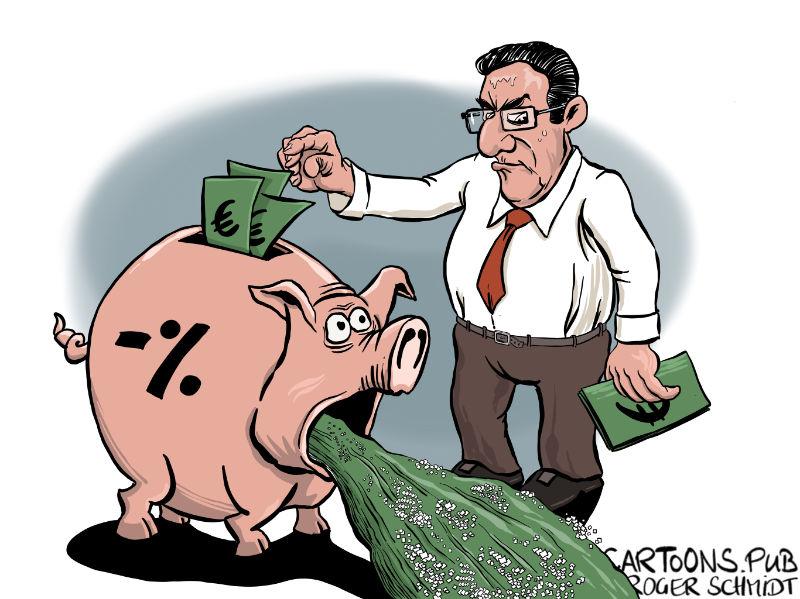 Karikatur, Cartoon: Negativzinsen für Sparer © Roger Schmidt