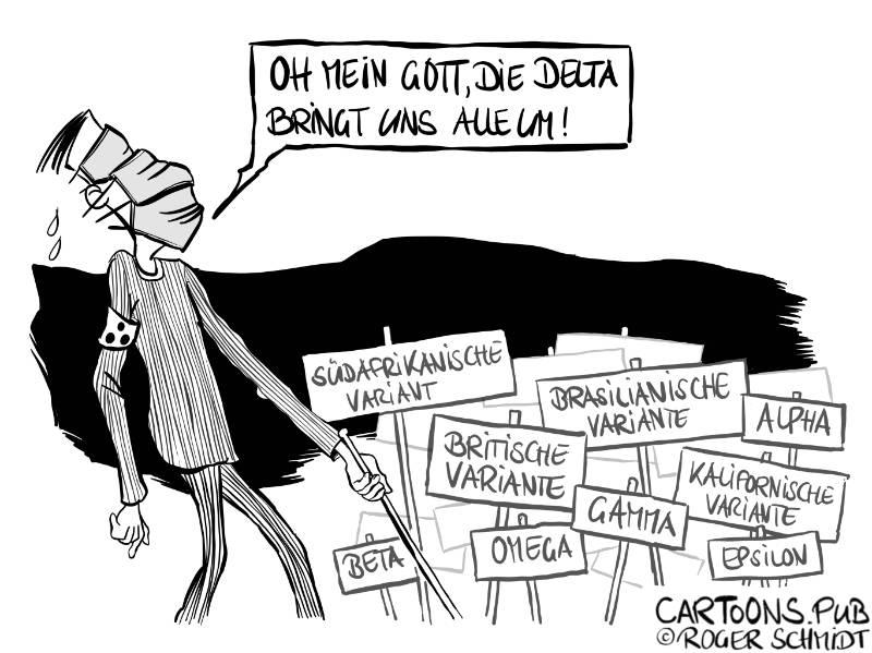 Karikatur, Cartoon: Neue Coronamutationen © Roger Schmidt