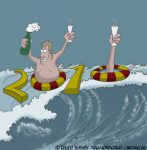 Karikatur, Cartoon: Frohes Neues Jahr 2010, © Roger Schmidt
