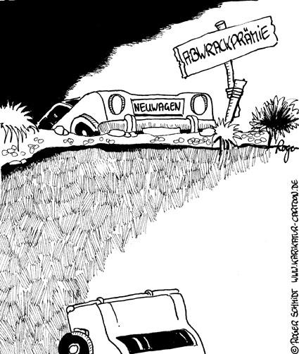 Karikatur, Cartoon: Neuwagen oder Gebrauchtwagen, © Roger Schmidt