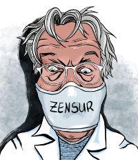 Karikatur, Cartoon: Newsletter gegen Zensur © Roger Schmidt