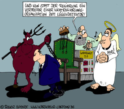 Karikatur, Cartoon: NGO - Nicht-Regierungsorganisation, © Roger Schmidt