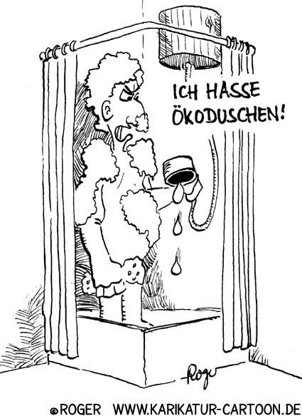 Karikatur, Cartoon: Ökodusche reduziert Wasserverbrauch, © Roger Schmidt