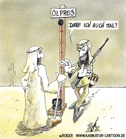 Karikatur, Cartoon: Ölpreis, Ölschock, © Roger Schmidt